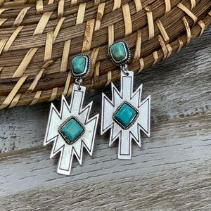 Jewelry - Be Brave Aztec Turquoise Earrings